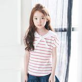 女童短袖T恤2018新款夏季童裝韓版兒童條紋上衣LJ4517『黑色妹妹』