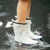 時尚韓國中筒平底防滑成人防水雨鞋LYH4148【大尺碼女王】