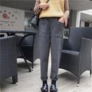 (全館免運)DE SHOP~(A-5009)寬鬆保暖休閒褲顯瘦高腰哈倫褲學生長褲