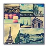 【24mama 掛畫】單聯式 油畫布 無框畫 30x30cm-巴黎世界油畫布無時鐘