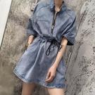 洋裝 超火的牛仔連身裙女a字收腰顯瘦收縮韓版小個子連體裙子夏季新款