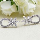 耳環 925純銀 鑲鑽-別緻奢華生日情人節禮物女飾品2色73hz43【時尚巴黎】