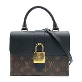 【台中米蘭站】全新品 Louis Vuitton Locky BB Monogram帆布磁釦手提斜背二用包(M44141-黑)