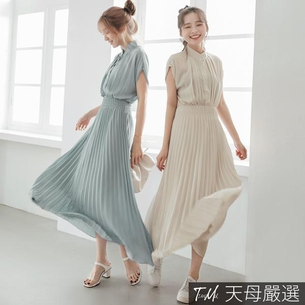 【天母嚴選】 氣質打摺縮腰百褶雪紡長洋裝(共二色)