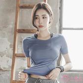 排汗衣女  新品運動短袖T恤女夏 半袖速干衣透氣顯瘦緊身跑步瑜伽健身上衣薄