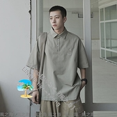 夏季刺繡字母短袖POLO衫男士潮流翻領半截袖寬鬆體恤衫【風之海】