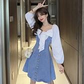 牛仔洋裝 燈籠袖設計感個性蝴蝶結拼接牛仔短裙春季新款時尚百搭收腰連身裙 韓國時尚週