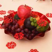 結婚婚慶用品喜慶紅色中式創意喜盤婚禮婚房布置糖果水果盤子批發 春生雜貨