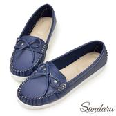 訂製鞋 MIT蝶結車縫白真皮底莫卡辛鞋-艾莉莎ALISA【24618853】藍色下單區