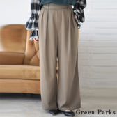 ❖ Spring ❖ 後鬆緊腰設計壓摺寬褲 - Green Parks