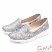 G.Ms. MIT極輕量-金屬線織布貼鑽休閒鞋*銀色