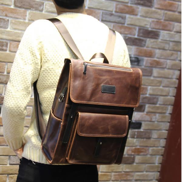 復古定型後背包 男雙肩書包【非凡上品】x360
