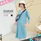 【HC5219】條紋雙口帶 螺紋棉哺乳洋裝