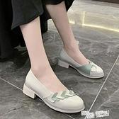 法式小高跟單鞋女新款百搭韓版甜美仙女溫柔風粗跟奶奶鞋 夏季新品