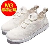 【US7-NG出清】adidas 休閒慢跑鞋 ZX Flux ADV Virtue W 全白 白 左腳鞋舌髒汙 小白鞋 女鞋【ACS】