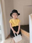 奶油媽2019新款超洋氣女童短袖襯衫夏裝薄款女寶寶花邊袖口上衣 嬌糖小屋