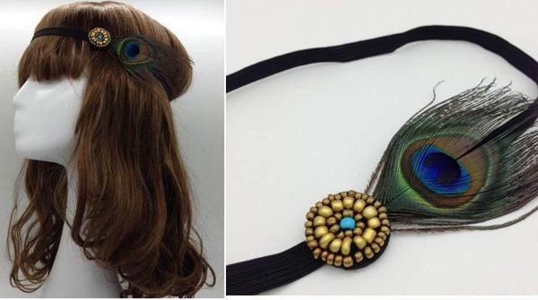 ★草魚妹★H366波西米亞印地安民族風孔雀羽毛簡約款髮飾髮帶髮圈髮箍頭飾,售價125元