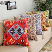 新款棉質帆布美式沙發抱枕靠墊簡約腰枕套辦公室車用靠背墊含芯WY