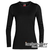 【icebreaker】Tech 女 羊毛圓領長袖上衣 BF260『黑』戶外 運動 柔軟 舒適 羊毛 排汗 抑味 控溫 104387