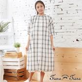 【Tiara Tiara】百貨同步aw 棉麻混紡格紋排釦寬版襯衫式洋裝(白)