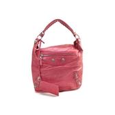 BALENCIAGA 巴黎世家 粉紅色山羊皮銀釦手提肩背包173081 【BRAND OFF】