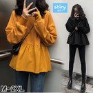 【V3012】shiny藍格子-香榭秋氛‧純色圓領寬鬆長袖上衣