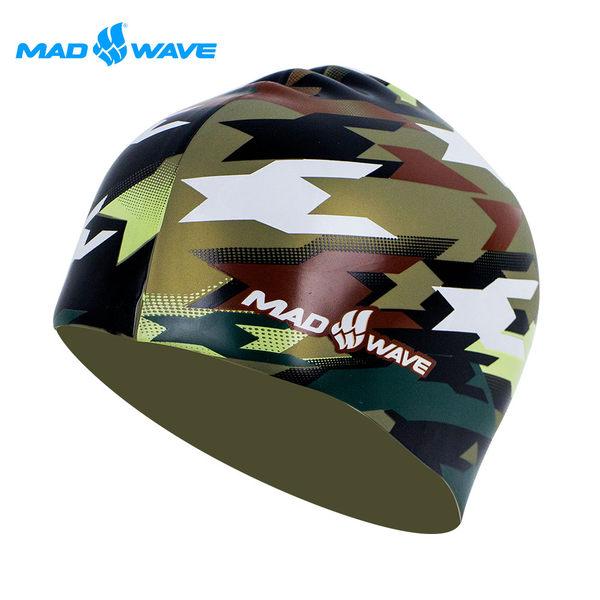 俄羅斯MADWAVE成人矽膠迷彩泳帽 MILITARY-買就送Barracuda矽膠耳塞