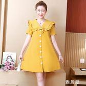 大碼洋裝 2019夏季新款韓版女裝胖mm寬鬆短袖遮肉顯瘦連身裙減齡TA5568【雅居屋】
