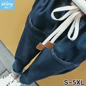 【V2807】shiny藍格子-流行單品.抽繩鬆緊腰反折牛仔褲