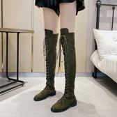 膝上靴 復古馬丁靴子女英倫風長筒靴2020秋冬新款方頭粗跟過膝長靴女鞋黑