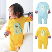 長袖連身衣 數字印花 拼接袖 側開扣 男寶寶 女寶寶 爬服 哈衣 Augelute 70063