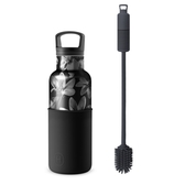 HYDY 時尚保溫水瓶 油墨黑-黑花瓶 480ml + 刷具