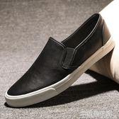 樂福鞋男新款一腳蹬懶人鞋韓版潮流透氣駕車鞋休閒男鞋英倫板鞋男 米蘭潮鞋館