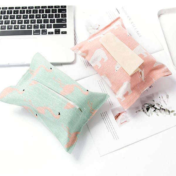 【BlueCat】紅鶴北極熊系列棉麻紙巾套 面紙套 面紙盒