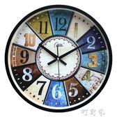 絲歐式復古靜音掛鐘客廳簡歐仿古掛錶美式鄉村懷舊北歐時鐘錶 盯目家