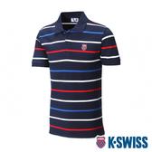 K-SWISS Heritage Stripe Polo短袖POLO衫-男-藍/條紋
