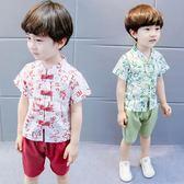 唐裝套裝男童 寶寶唐裝夏季兒童套裝2018新款民族風漢服男童古裝中國風兩件套潮 米蘭街頭