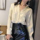 【9909】2019春夏韓版新款珠光V領寬鬆顯瘦修身長袖襯衫 上衣
