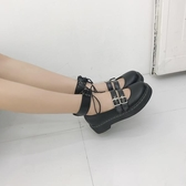 日系新款軟妹兩穿小皮鞋厚底圓頭女鞋洛麗塔少女學生鞋可愛娃娃鞋