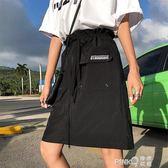 sodu半身裙女夏chic學生高腰a字半身裙潮直筒系帶港味半身短裙女 【PINK Q】