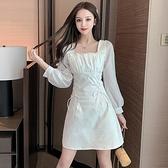 甜美仙女超仙森系白色裙子女早秋法式長袖收腰綁帶顯瘦a字連身裙 貝芙莉