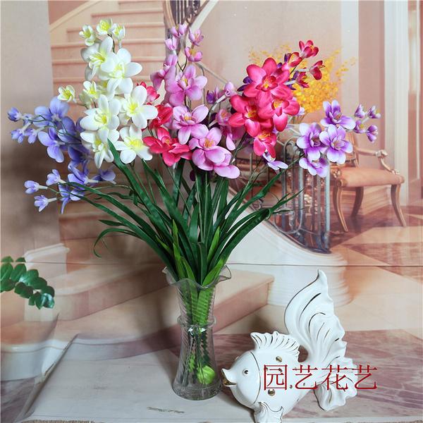 淘寶拍照道具花飾品拍圖道具仿真花假花裝飾花2頭洋蘭蘭花批發