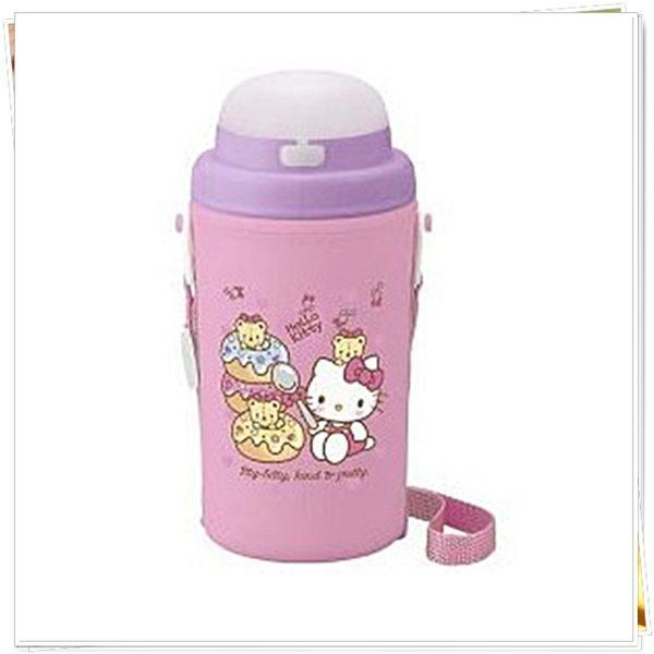 日本製 kitty 牛奶妹 保冷吸管水壺450ml 彈蓋水壺 101052 奶爸商城