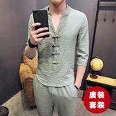 中式唐裝套裝 中國風男裝改良式 漢服居士復古短袖兩件套青年民族服裝 初秋新品