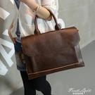 潮流新款潮包包商務手提包斜背包休閒復古側背包 公文包 休閒包女 果果輕時尚