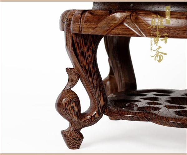 紅木雕刻盆景底座架子 雞翅木質中式花盆花架 實木托圓形魚缸架