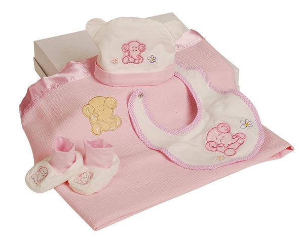 新生兒 帽子 圍兜   澳洲baby bow-寶貝4入組  粉紅/水藍 2色◆無附贈提袋唷◆