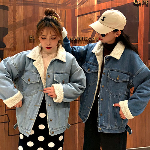 克妹Ke-Mei【AT56350】小心機!設計師款羊羔毛毛內膽立領排釦牛仔外套