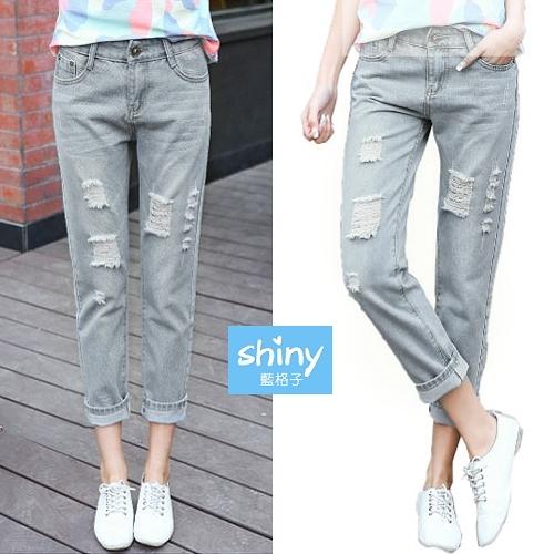 【V9189】shiny藍格子-隨性穿搭.原宿寬鬆破洞直筒九分牛仔褲