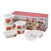 韓國NEOFLAM 陶瓷保鮮盒6件式-紅花(長方形630ml*2、圓形600ml*2、圓形950ml*2)